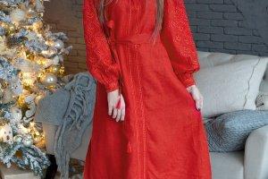 Жіноче плаття з вишивкою гладдю - Опис
