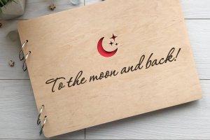 Дерев'яний альбом для фото і записів «До місяця і назад» - ІНШІ РОБОТИ