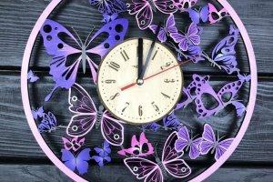 Дерев'яний годинник з кольоровим УФ друком Вальс метеликів
