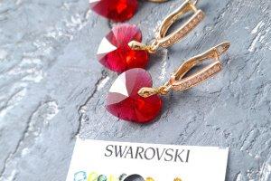 Swarovski та позолота комплект кулон та сережки серце - Опис