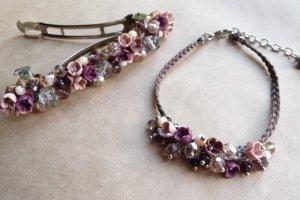 Робота Рожева шпилька і браслет з квітами, комплект прикрас