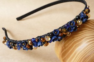 Робота Синьо золотий квітковий ободок, синій обруч для дівчинки