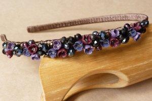 Фіолетово бордовий квітковий ободок, обруч для дівчинки - Опис
