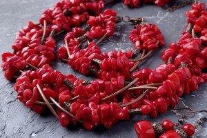 Пишне семирядне намисто і сережки з натуральних коралів - Опис