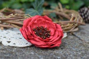 Брошка червона , квітка червона, заколка квітка, подарок - ІНШІ РОБОТИ