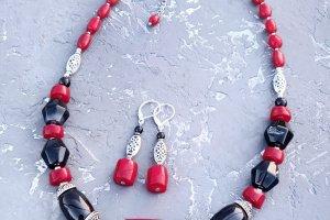 Розкішне кольє з величезним натуральним коралом та сережки - ІНШІ РОБОТИ