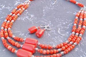 """Комплект з натуральних коралів намисто і сережки """"Спадок-2"""" - ІНШІ РОБОТИ"""