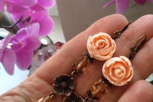 Вінтажні сережки з персиковими півоніями - ІНШІ РОБОТИ