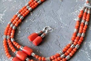 """Комплект з натуральних коралів намисто і сережки """"Спадок-3"""" - ІНШІ РОБОТИ"""