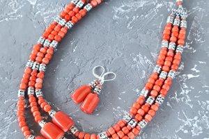 """Комплект з натуральних коралів намисто і сережки """"Спадок-3"""" - Опис"""