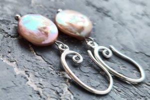 Сережки з натуральних розкішних перлів Кейші у сріблі - ІНШІ РОБОТИ