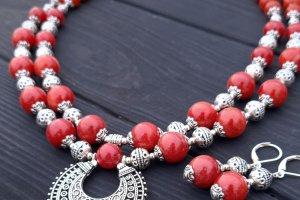 Комплект з натуральних коралів кольору червоної цегли - ІНШІ РОБОТИ