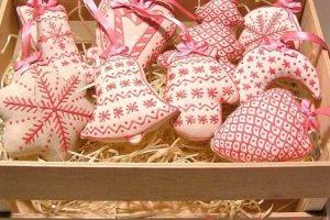 Комплект новорічних іграшок - пряники Полуниця з вершками
