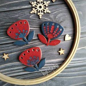 Работа Брошь - цветок темно красная с синим