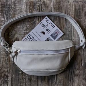 Робота Поясная сумка 024 (белый) Натуральная кожа.