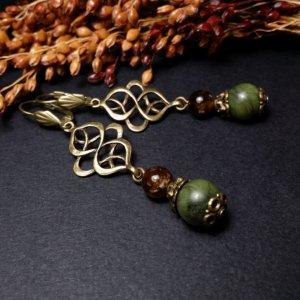Робота Зелені бронзові сережки з турмалином та жадеїтом