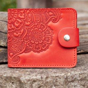 Робота Кошелек женский кожаный красный с орнаментом