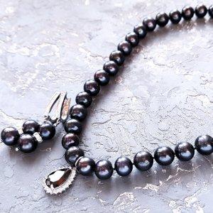 Робота Натуральні чорні перли високого класу розкішний комплект