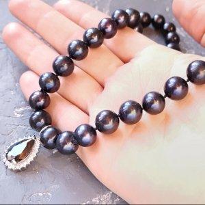 Робота Натуральні чорні перли високого класу розкішне кольє