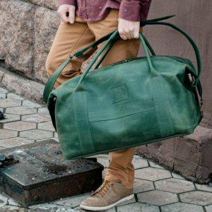 Робота Дорожня зелена сумка, шкіряна спортивна сумка велика