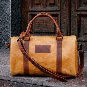 Робота Коричнева жіноча дорожня сумка, Кожана сумка - саквояж