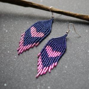 Робота Сині з рожевим романтичні сережки з бісеру