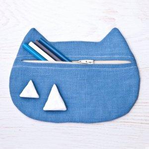 Робота Синя косметичка кішка лляна