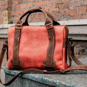 Робота Шкіряна сумка для ноутбука, Червоний шкіряний портфель