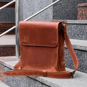 Робота Чоловіча шкіряна сумка через плече. коричнева почтальонка