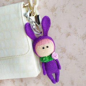 Робота В'язаний брелок лялька великодній зайчик, на сумку, рюкзак