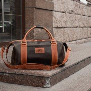 Робота Коричнева спортивна / дорожня сумка, з вінтажній шкіри