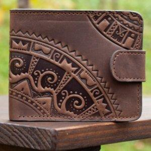Робота 9 відділів Чоловічий шкіряний гаманець коричневой