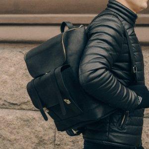 Робота Міський шкіряний рюкзак чорний, Чоловічий рюкзак для ноутбука