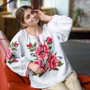 """Робота Біла українська вишита сорочка на льоні """"Roses"""""""