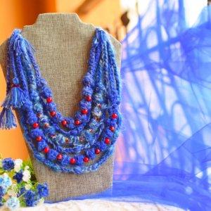 Робота Синє етно намисто, укранські коралі, буси багаторядні