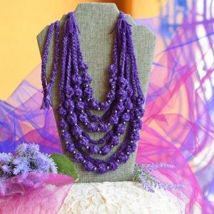 Робота Фіолетове етно намисто, коралі багатошарові, буси подарунок