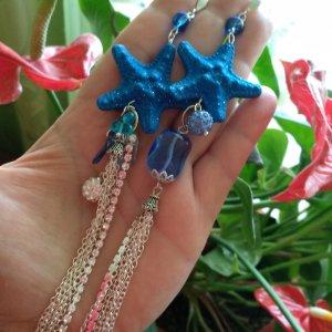 Робота Довгі сині сережки з ланцюгами і стразами