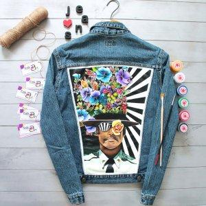 Робота Джинсова куртка з дизайнерським ручним розписом