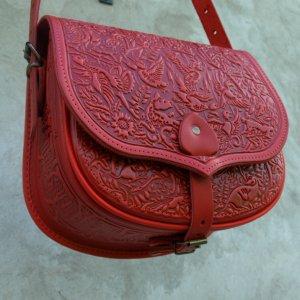 Робота сумка шкіряна Ягдаш-червона