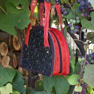 Робота сумка шкіряна Лабіринт червоно-чорна