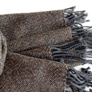 Робота Тканий коричнево-сірий шарф з мериноса з шовком