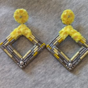 Робота Сережки Квадрат Жовто-сірий