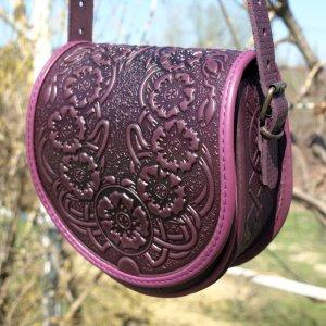 Робота сумка  шкіряна Маки фіолет