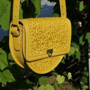 Робота жовта шкіряна сумка Рокса