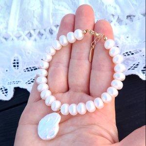 Робота Браслет з натуральних білих перлів у позолоті