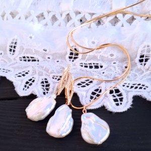 Робота Весільний чи святковий комплект з перлів Кейші у позолоті