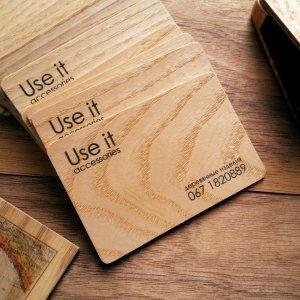 Работа Визитки из натурального дерева ручной работы 100 шт