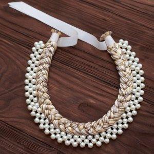 Робота Шелковое колье-коса Beige Pearl Silk