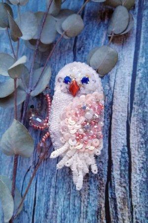 Брошь белая сова брошка птичка совушка птица сова
