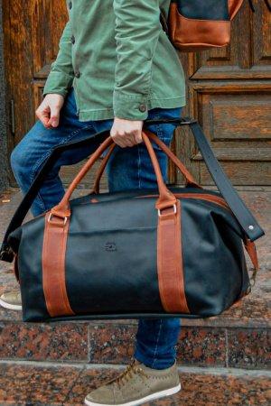 Черная кожаная спортивная сумка, Дорожная сумка из кожи